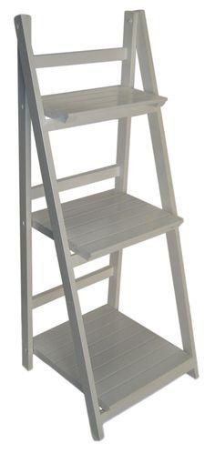 Preferred 4 tier white wash ladder shelf display unit free standing/folding  MO17