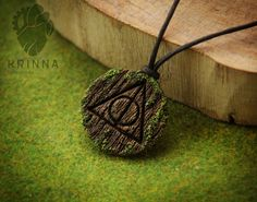 Deathly Hallows pendant from polymer clay wooden by Krinna on DeviantArt