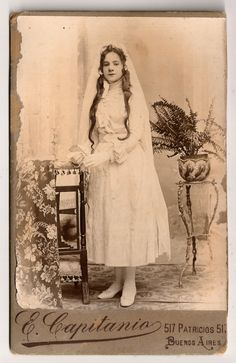1880s Original Antique RARE Argentinian Cabinet Card Photography Young Girl First Communion Studio Portrait by E.Capitanio of Buenos Aires