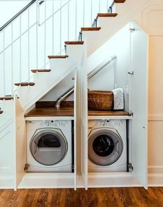 Kitchen Under Stairs, Cabinet Under Stairs, Bathroom Under Stairs, Staircase Storage, Staircase Ideas, Portable Sink, Small Laundry Rooms, Hidden Laundry, A Frame House