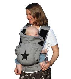 Hoppediz Bondolino Popeline grau-stern Komforttrage, Babytrage, Bauchtrage, Rückentrage Babytragen Bondolino Popeline Bondolino