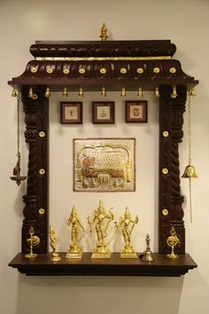 Traditional Carved Wooden Puja Mandir/ Hindu home temple with ...