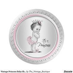 Vintage Princess Baby Shower Paper Plates