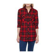 Contemporaine Tartan woven shirt ($45) ❤ liked on Polyvore featuring tops, tartan shirt, woven top, plaid shirt, tartan plaid shirt and tartan top