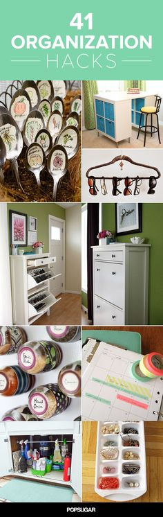 41 Organization Hacks - organize your life and spend more time living it, less time cleaning up after it! Useful Life Hacks, Life Hacks