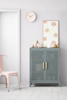 Furniture - Storage furniture - The low cloakroom - 2 doors / Perforated steel & wood by Tolix - Lichen green / Oak handles - Lacquered steel, Solid oak