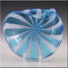 Murano Blue & White Glass Zanfirico Filigree Bowl - £29.99