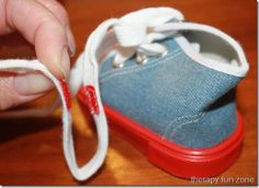 Practicing Tying Shoes with Loopers Laces