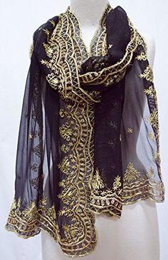 Signature Scallop Embroidered Beaded Silk Chiffon Shawl Scarf Stole Wrap Black Gold Steel Paisley http://www.amazon.com/dp/B018SYSJIY/ref=cm_sw_r_pi_dp_v3Kxwb1CF1ZG2