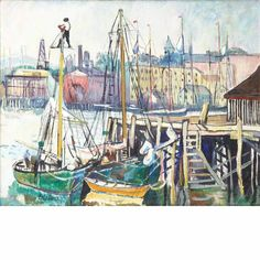 """""""Gloucester, Massachusetts,"""" Richard Hayley Lever, oil on canvas, 16 x 20"""", private collection."""