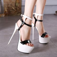 - Stunning open toe platform strap stiletto high heels for the modern fashionista - Lovely ankle strap design offers a sexy unique look - Great for parties or social events - Made from PU - 17 cm heel