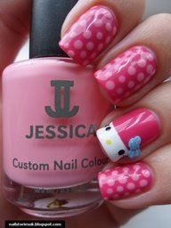 Get inspirations from these cool stylish nail designs for short nails. Find out which nail art designs work on short nails! Fancy Nails, Love Nails, How To Do Nails, Pretty Nails, Sexy Nails, Pink Nails, Ongles Hello Kitty, Jolie Nail Art, Chat Hello Kitty