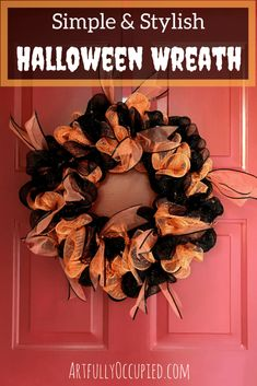 Simple & Stylish Halloween Wreath Tutorial | Easy DIY Halloween Wreath for the front door | Decorative Mesh and Ribbon | Deco Mesh |