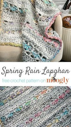 Spring Rain Lapghan - free crochet pattern on Moogly featuring Red Heart Collage! Uses jumbo yarn in bright, variegated colors mixed with a soft grey. Like a combination of rain and spring flowers. Punto Red Crochet, Manta Crochet, Knit Crochet, Crochet Vests, Crochet Humor, Crochet Dresses, Crochet Motif, Crochet Shawl, Crochet Stitches