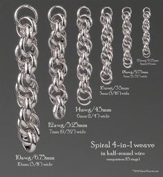 Spiral 4 in 1 weave with half rounded wire. Comparison chart of different ring sizes based on 15 rings.