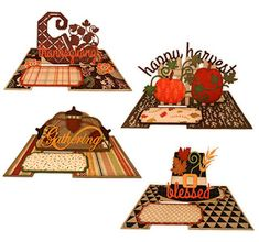 Needles 'n' Knowledge: Thanksgiving Impossible Cards Quartet Fall Cards, Holiday Cards, Acorn Wreath, Thanksgiving Words, Hat Decoration, Shape Matching, Interactive Cards, Circle Punch, Card Tutorials
