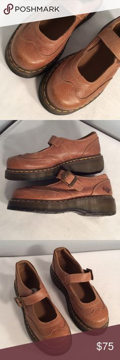 Carmel leather Mary Jane Dr Martens Carmel leather Mary Jane Dr Martens good condition but have been worn few times Dr Martens Shoes Mules & Clogs