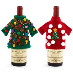 Ugly Christmas Sweater Wine Bottle gift covers...awesome.