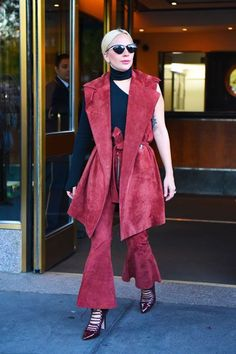 Lady Gaga Beaufille Spring 2016 Suede Suit Outfit; so many layers so little time
