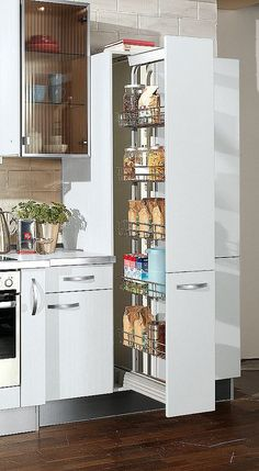 Tall cabinets for the kitchen - flexibly usable storage space - Best Interior Design Ideas Kitchen Pantry Design, Kitchen Cabinet Storage, Best Kitchen Designs, Modern Kitchen Design, Home Decor Kitchen, Interior Design Kitchen, Design Moderne, Cuisines Design, Kitchens