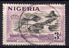 Jebba Bridge and River Niger | 3d stamp | stamped Ilesha | Nigeria