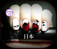 Nail Art Them Week: Japanese - Day One Japanese Pine Silhouette Against the Flag of Japan - Pointless Cafe