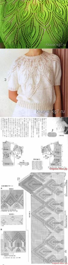 Пуловер с круглой кокеткой | Клубок
