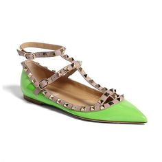 Rank & Style Top Ten Lists | Valentino Rockstud Double Ankle Strap Ballet Flat #rankandstyle