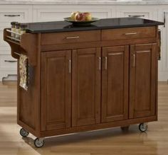 4 Mobile Islands For Small Kitchens: Mobile Kitchen Island With Engineered Granite Top