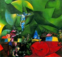 Марк Шагал «Голгофа (Распятие)» 1912 г. Холст, масло. 174 x 191 см. Нью-Йоркский музей современного искусства, США