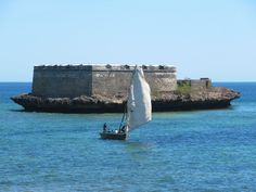 The triangular Ilhéu Fortim de São Lourenço sits on a tiny island off the south end of Mozambique Island. East Africa, Marina Bay Sands, Island, Heritage Site, World, Travel, Viajes, Traveling, The World