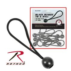 """By slipping these ties through your tarps grommets, you will not only be saving time in setting up, but you will also be prolonging the life of the grommets.    The Bungee Tie and Ball has """"give"""" to allow for the excessive pulling on the grommets, especially in windy weather. This extra """"give"""" will help to prevent tearing of the grommets, which is a common problem with continual use. And with the Bungee Tie and Ball in place, you will only need to stake them down, thus saving setup time."""