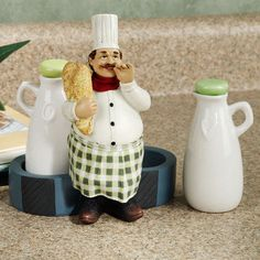 French Italian Fat Chef Bistro Oil & Vinegar Bottles Jacques Kitchen Bottle Set | eBay