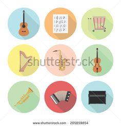 set of classical musical instrument icon, flat style - stock vector