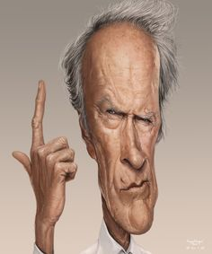 Clint Eastwood (Caricature) http://dunway.com - http://masterpaintingnow.com/how-to-draw-everything?hop=dunway