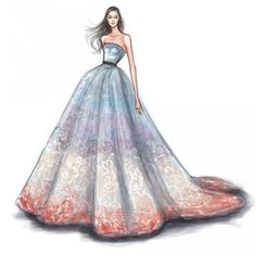 Princess dress illustration by the artist Shamekh Dress Design Drawing, Dress Design Sketches, Dress Drawing, Fashion Design Drawings, Fashion Sketches, Fashion Painting, Fashion Art, Fashion Models, Dress Illustration