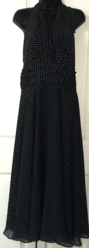 Donna-Morgan-Dress-160-Sz-10-Halter-Marilyn-Black-White-Polka-Dot-Mid-Calf-Silk
