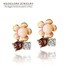 Jewelry Austrian Crystal Gold Plated Fashion Stud Earrings for Women Brincos  New Designer