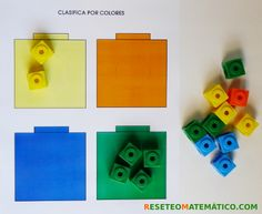 Policubos, clasificar por color Kindergarten Math, Cube, Ideas, Learning Numbers, Practical Life, Activities, Colors, Preschool Math, Kindergarten Math Stations