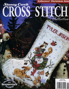 Woodland Critters and Snowman 1 Christmas Stocking Images, Cross Stitch Christmas Stockings, Cross Stitch Stocking, Christmas Stocking Holders, Xmas Stockings, Christmas Cross, Cross Stitch Magazines, Cross Stitch Books, Cute Cross Stitch