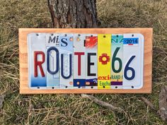 ROUTE 66 Custom Recycled License Plate Art Sign