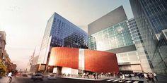 Le plus grand projet hospitalier  en Amérique du Nord. Via v2com. Au-delà du mandat premier de regrouper sous un même toit trois anciens hôpitaux – l'hôpital Saint-Luc, l'hôpital Notre-Dame et l'hôpital de l'Hôtel-Dieu – le CHUM est un parfait exemple de projet d'architecture réfléchi qui résout des problématiques hautement complexes en intégrant des concepts d'infrastructures sociales et de revitalisation urbaine au cœur d'un même design.