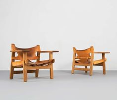 """Early Pair of Two Børge Mogensen """"Spanish Chairs"""" 