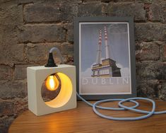 Lamp – Pale Yellow Polished Concrete Lamp with Light Blue Fabric Cable - The Dublin Coast Collection Concrete Lamp, Polished Concrete, Led, Table Lamp, Desk Lamp, Red And White Stripes, Blue Fabric, Industrial, Candle Sconces