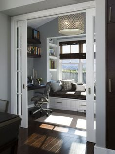 I want to curl up on that window seat with a good book :) an extra room in your bedroom. This is beautiful