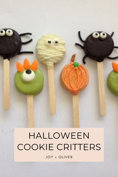 This Halloween get your kids in the kitchen to make these delicious Halloween Cookie Critters! These chocolate dipped sandwich cookies are decorated to be pumpkins, mummies, monsters, and spiders for a treat you will enjoy making as much as you will enjoy eating. #cookie #critters #halloween #dessert #activity Food On Sticks, Cookie Sticks, Halloween School Treats, Halloween Cookies, Chocolate Sprinkles, Chocolate Dipped, Orange Food Coloring, Snowball Cookies, Halloween Celebration