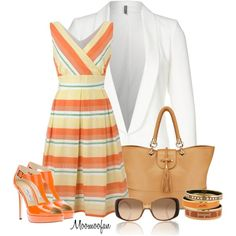 White Blazer and Striped Dress, created by moomoofan1972 on Polyvore