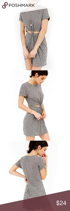 "Knot Front Cutout T-Shirt DRESS Heather Grey NEW BRAND NEW!! Casual cool cutout knot-front t-shirt dress in an easy breezy stretch knit, with cutouts at the front of the knot-front waist. Finished with a banded crew-neck + short sleeves. Available in: Light Grey, Dark Grey.   S: Bust: 32""/Length: 33"" M: Bust: 34""/Length: 33.5"" L: Bust: 36"" /Length: 34""  Item is Brand New, direct from the Manufacturer, & Sealed in Pkg.  Dresses"