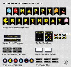 Pac-Man Birthday Party Printable INSTANT DOWNLOAD by Chileylimon