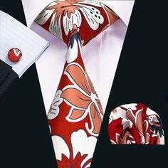SN-1210 New Floral Prints Mens Tie Hanky Cufflinks Red&Yellow Stylish Silk Ties